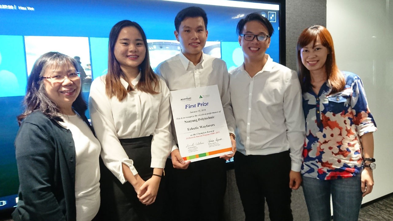 From left to right: Ms Ng Hau Yee/Director Junior Achievement Singapore poses for a photo with the champions. DHTM student Ho Jia Yi, DHTM student Bryan Koo Zhuang Yuan, DHTM student Koh Kang Yik, and DHTM Lecturer Benedicte Liew