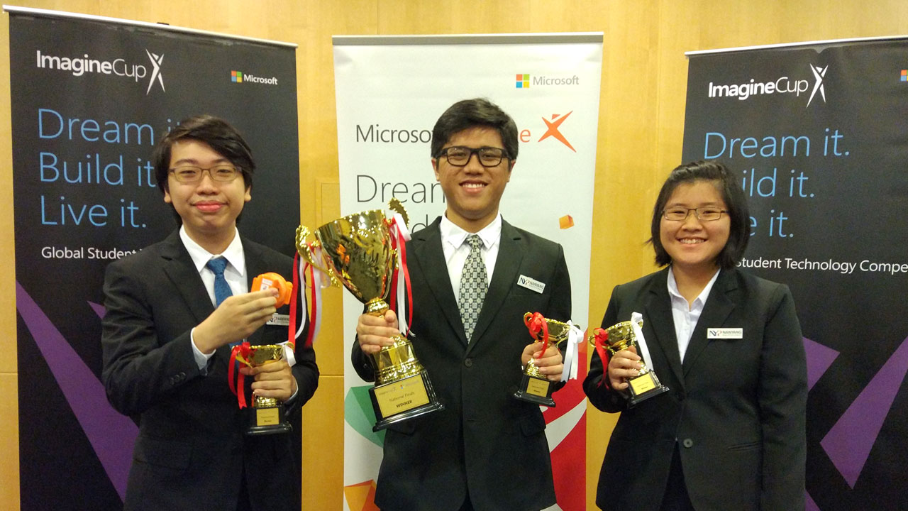 (From left) Our students Sean Wong, Anthony Chew Zhi Qi and Lian Min from Team HeartSound