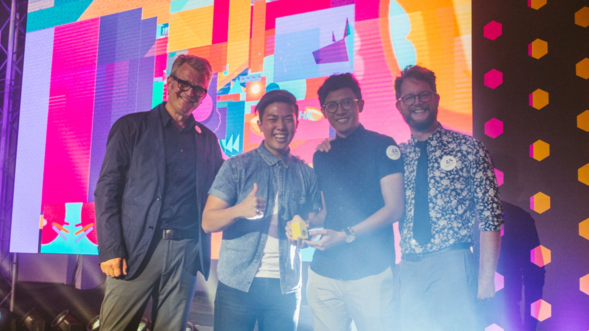Matthew and Khairil with the judges at the D&AD New Blood Awards!