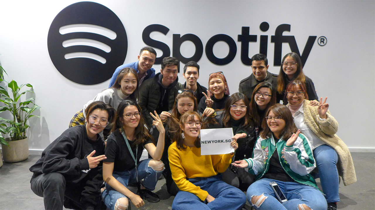 NY.SG participants visiting Spotify and our Animation Alumnae Rainy Fu who's an Art Director there!
